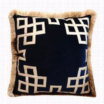"Blue Triomphe Pillow Embellished With Trim 20""X20"""