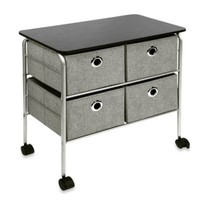 4-Drawer Rolling Night Stand in Grey