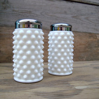 Milk Glass Hobnail Salt and Pepper Shakers, Fenton 1960's Salt and Pepper Shakers, Mid Century Kitchenware