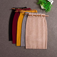 High Quality Skirts Autumn winter Casual Women High Waist Knee-length Knitted Pencil Skirt Elegant slim Long Skirts