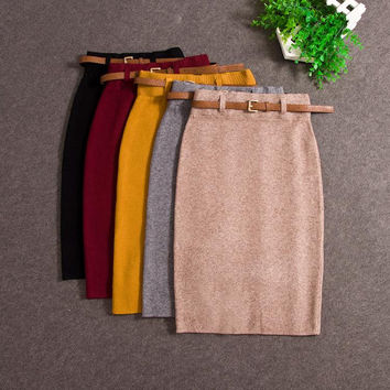 Skirts Autumn winter Casual Women High Waist Knee-length Knitted Pencil Skirt Elegant slim Long Skirts