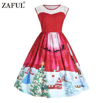 ZAFUL Designer Halloween Christmas Tree Print Vintage Party Dress Plus Size Lace Swing Rockabilly Robe Female Vestidos de festa