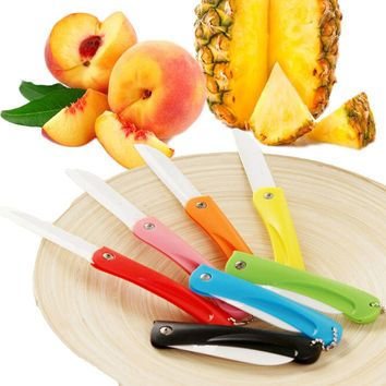 Ceramic Knife Fruits Folding Knives Pocket Portable Kitchen Dinning Room Multi Color Paring Knife with Keychain