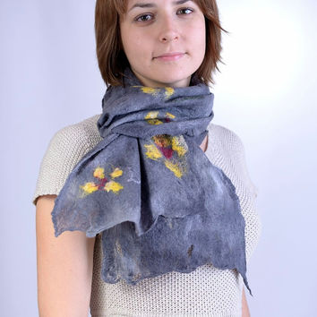 Gray, light felted scarf with yellow flowers - sheer, airy, cobweb felt scarf with floral pattern - stylish flower scarf [S151]