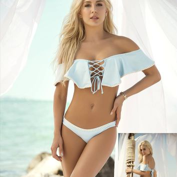 Sky Blue Ruffled Off the Shoulder Lace-Up Front Bandeau Style Top & Low Rise Thong Bottom Bikini Swimsuit