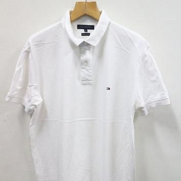 ON SALES 15% Vintage 90s TOMMY Hilfiger Size Xl White Plain Polo Shirt
