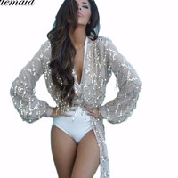 Women's Sexy Sequin Bling Kimono Cardigan Coverup Gold or Silver
