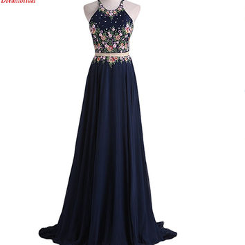 Dreambridal The latest in-kind pictures Elegant Sleeveless Two-Piece Long Prom Dress With Applique Elegant Party Dresses