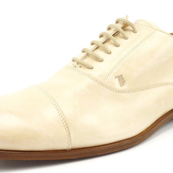 Tod's Mens Shoes Size 10, US 11 Leather Captoe Oxfords Tan New