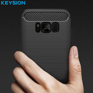 KEYSION Phone Case For Samsung Galaxy S8 Environmental Carbon Fiber Soft TPU Anti-Skid Cover For Samsung S8 Plus S8Plus Skin