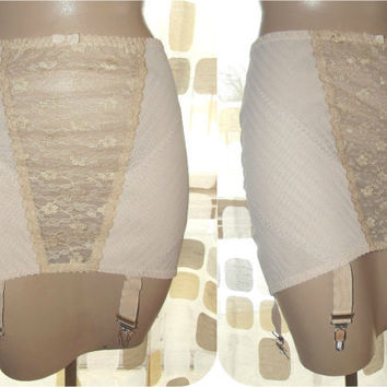 Vintage 50s Peach PLUS SIZE Open Bottom Girdle Garter Belt Shapewear Lace Tummy Control 1X XL