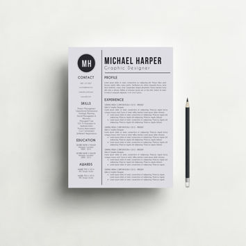 Resume Template / Free Cover Letter + Reference Letter, Modern and Professional Resume Template for Word, CV, Teacher Resume, CV Template