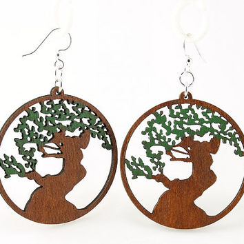 The Tree of Life Earrings  Laser Cut wooden by GreenTreeJewelry