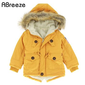 Autumn Winter children jackets Girls Boys Coats Hooded Faux Fur Collar Kids Outerwear 10T Cotton Padded Baby Girl Boy Snowsuit