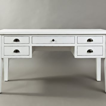 5-Drawer Wooden Desk In Weathered White Finish - BM183983