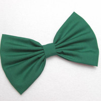 Hair Bow Clip - Hunter Green