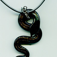 handmade black glass snake necklace serpant pendant animal cord jewelry #jewls5010