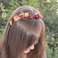 Autumn flower crown, Autumn flower headband, Woodland wedding halo, Rustic hair wreath, Fall flower crown, Fall wedding crown, Bridal halo