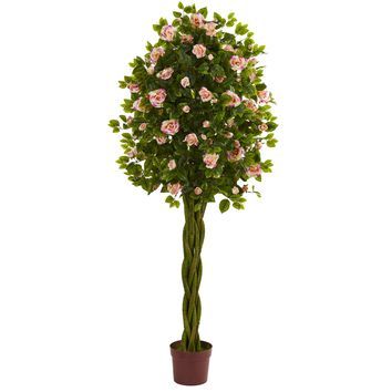 Artificial Tree -6 Foot Rose Tree With Woven Trunks