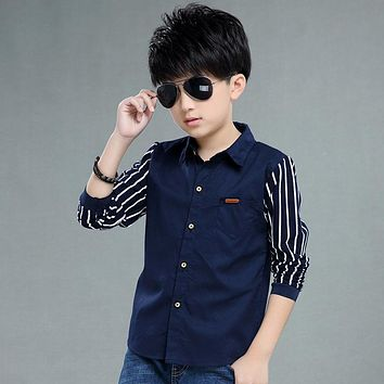 Kids Boys Fashion Shirt Children Striped Long Sleeve Cotton Clothes Spring Autumn Clothing