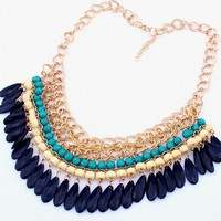 Eyourlife Vintage Retro Black Ellipse Pendant Bib Necklace & Blue