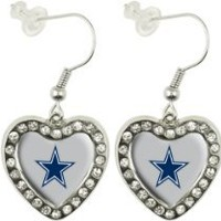 My Associates Store - NFL Dallas Cowboys Crystal Heart Earrings with Team Logo