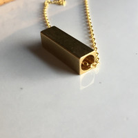 Brass Slide Necklace, Brass Necklace, Rectangular Necklace, Slide Necklace, Etsy, Etsy Jewelry