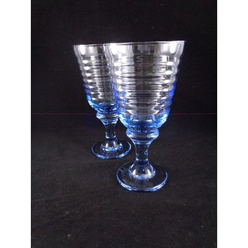 Libbey Sirrus Light Blue Goblets  S/2