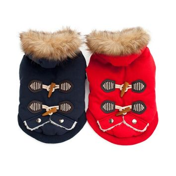 Warm Pet Dog Clothes Winter Cotton Padded Dog Coat Horn Button Fur Hooded Costume for Small Dogs Chihuahua Yorkshire Terrier
