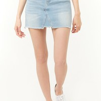 Frayed-Hem Denim Mini Skirt