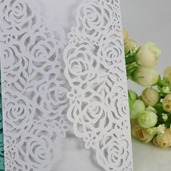 Free Shipping 50pcs White vintage Rose flower Party/Birthday Laser cheap Wedding invitation card, no envelope,no inner sheet