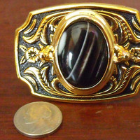 Womens Western Belt Buckle Featuring a Sardonyx Stone / Polished Gold Tone and Black Accents / Sardonyx Womens Belt Buckle