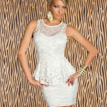White Crochet Lace Sleeveless Bodycon Peplum Mini Dress