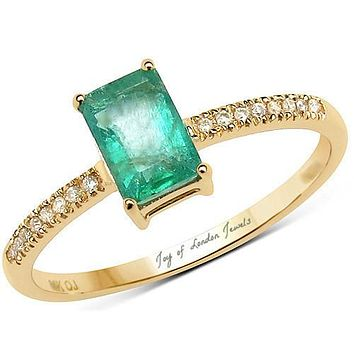 14K Yellow Gold Natural 1CT Emerald Cut Colombian Emerald Natural Diamond Accent Engagement Ring
