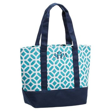 Surf Swell Beach Tote, Pool Petyon/Navy Trim