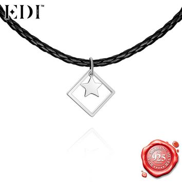 EDI 925 Sterling Silver Princess Star Choker Necklace for Women Punk Silver Square Pendant Adjustable Chain Necklace Party Gift