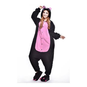 Unisex Adult Pajamas  Cosplay Costume Animal Onesuit Sleepwear Suit  Black Pig