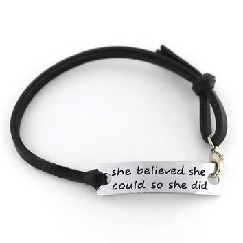 She Believed She Could So She Did Inspirational Hand Stamped Cuff Metal Leather Bracelet