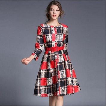 ONETOW 2017 Europe and the United States women's spring temperament aristocratic fashion seven-point sleeve Slim plaid dress