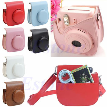 Leather Camera Shoulder Strap Bag Protect Case Pouch For Fujifilm Instax Mini 8