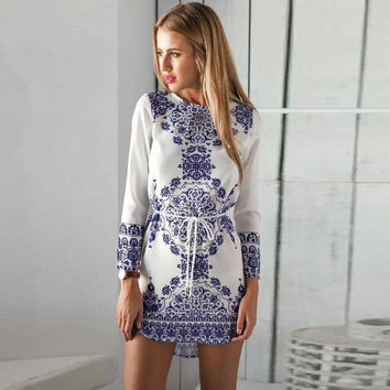 Porcelain Print Long Sleeve Drawstring Mini Shift Dress