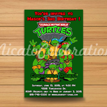 TMNT Teenage Mutant Ninja Turtles Inspired 2 Design Invitaion - Digital File