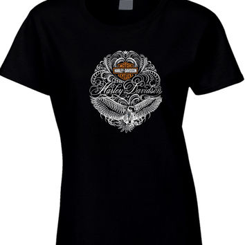 Harley Davidson Motorcycles Typography Art Womens T Shirt