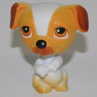 Jack Russell #40 (White, Orange/Brown Accents) - Littlest Pet Shop (Retired) Collector Toy - LPS Collectible Replacement Single Figure - Loose (OOP Out of Package & Print)