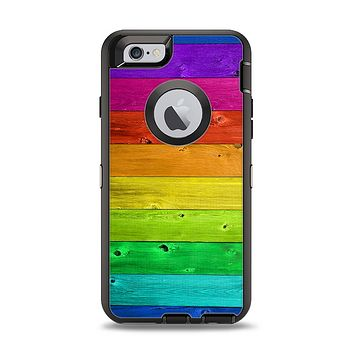 The Rainbow Highlighted Wooden Planks Apple iPhone 6 Otterbox Defender Case Skin Set