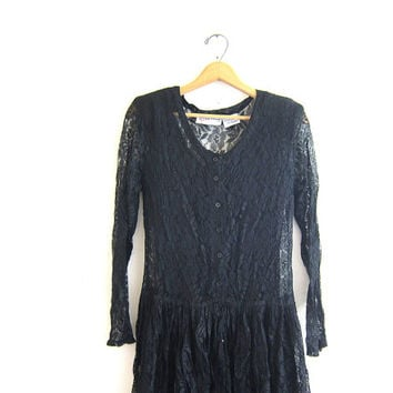 Vintage black 80s floral Lace Stevie Nicks Sheer Long Gypsy Dress // size small