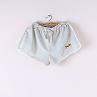 Cat Embroidery Drawstring Shorts