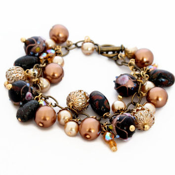 Bronze Gold Charm Bracelet  - Gold Rustic Brown Bronze Amber - Autumn Jewellery - Bespoke Design