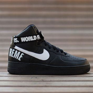 NIKE Women Men Running Sport Casual Shoes Air force Letter High tops Black