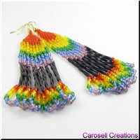 Rainbow Seed Bead Earrings Native American Style Bead Dangle Beadwork